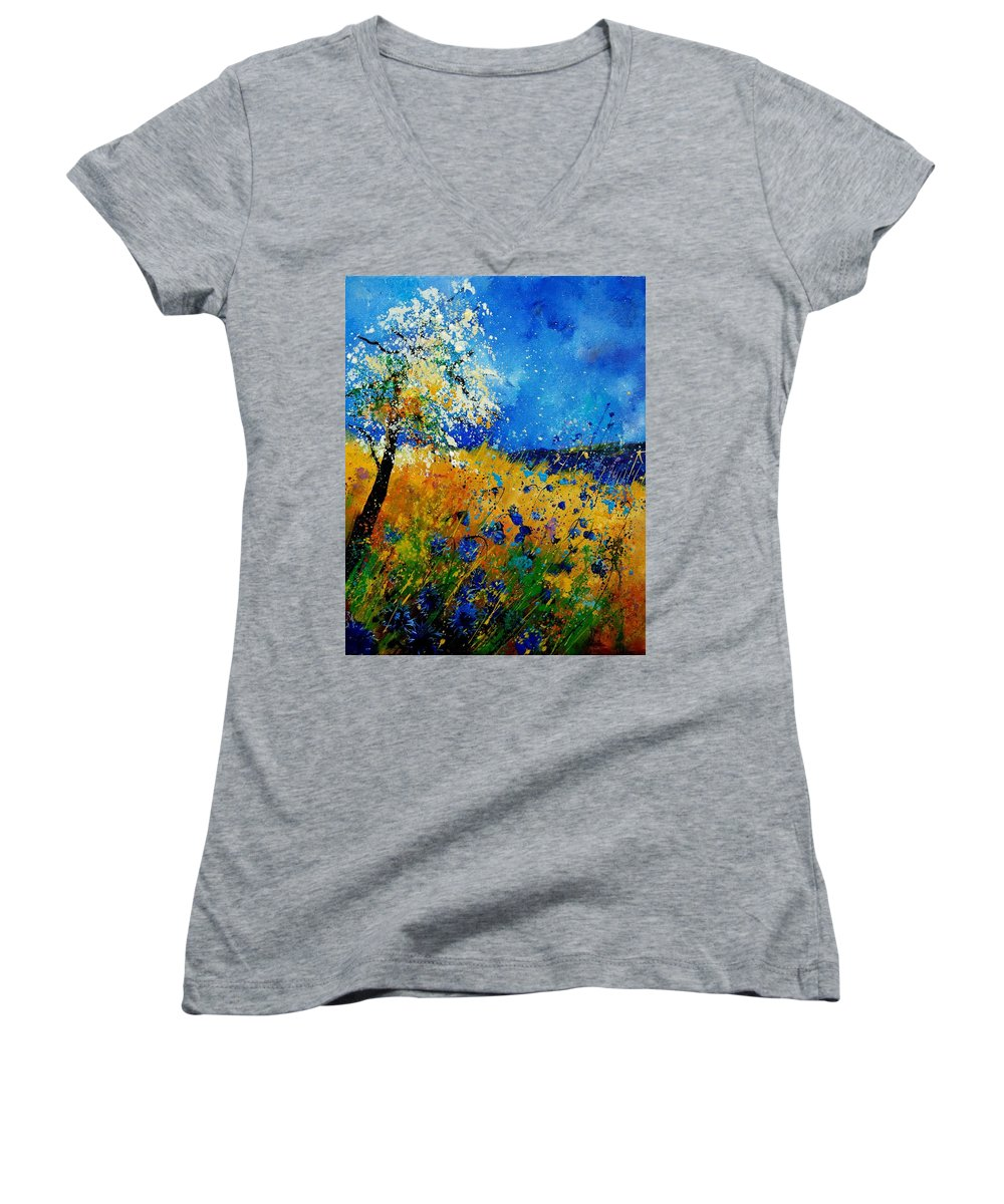 Poppies Women's V-Neck (Athletic Fit) featuring the painting Blue Cornflowers 450108 by Pol Ledent