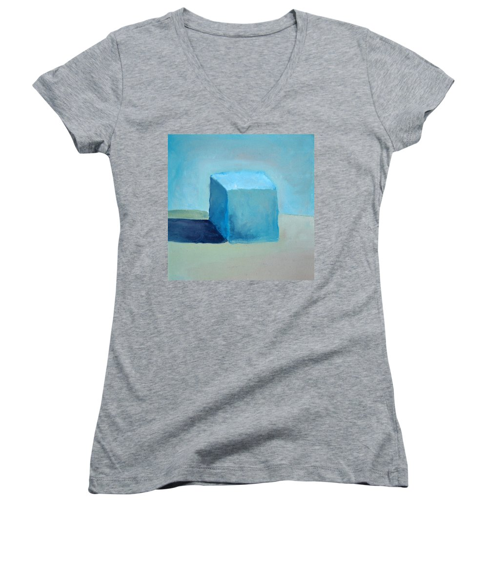Blue Women's V-Neck (Athletic Fit) featuring the painting Blue Cube Still Life by Michelle Calkins
