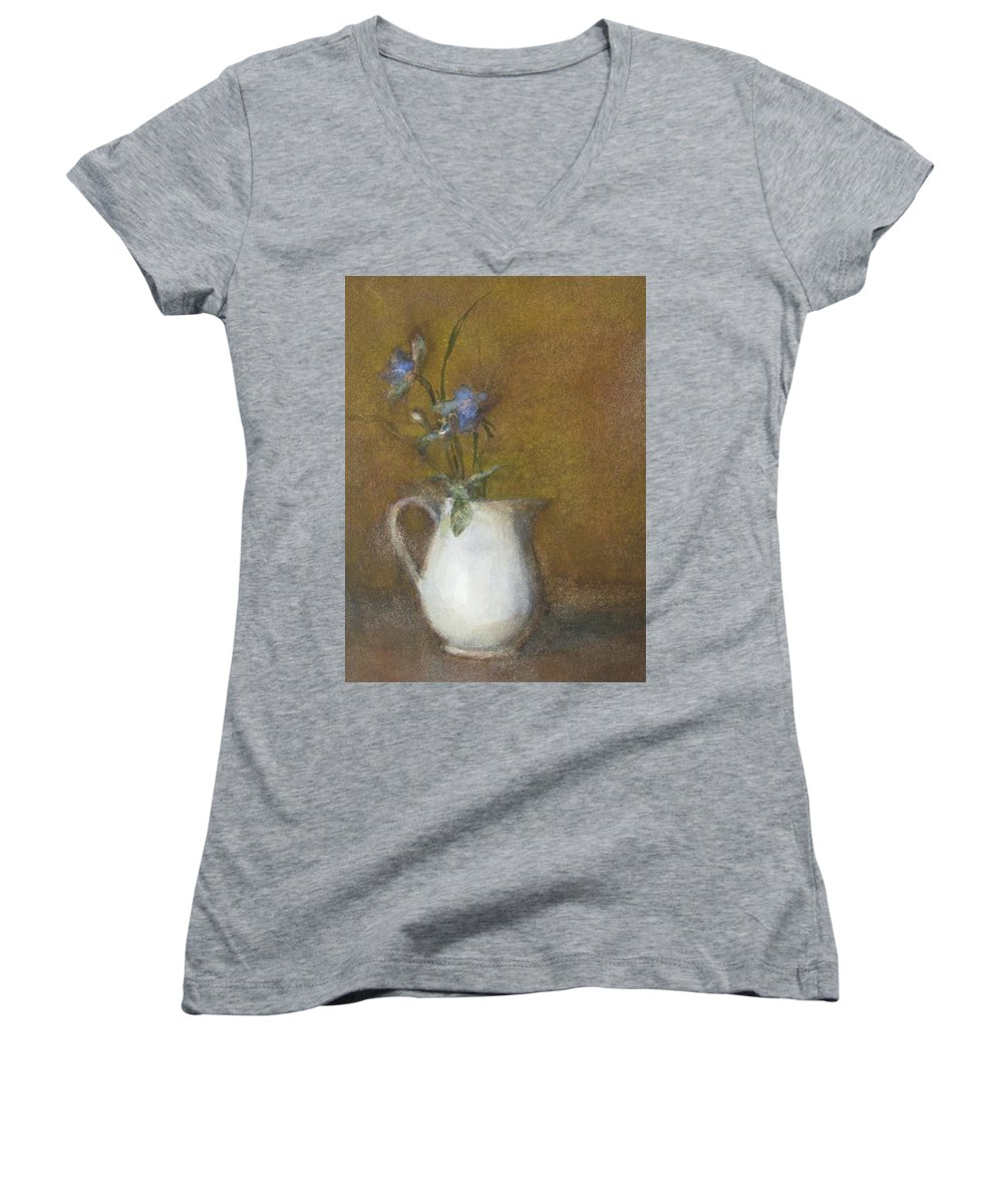 Floral Still Life Women's V-Neck T-Shirt featuring the painting Blue Flower by Joan DaGradi