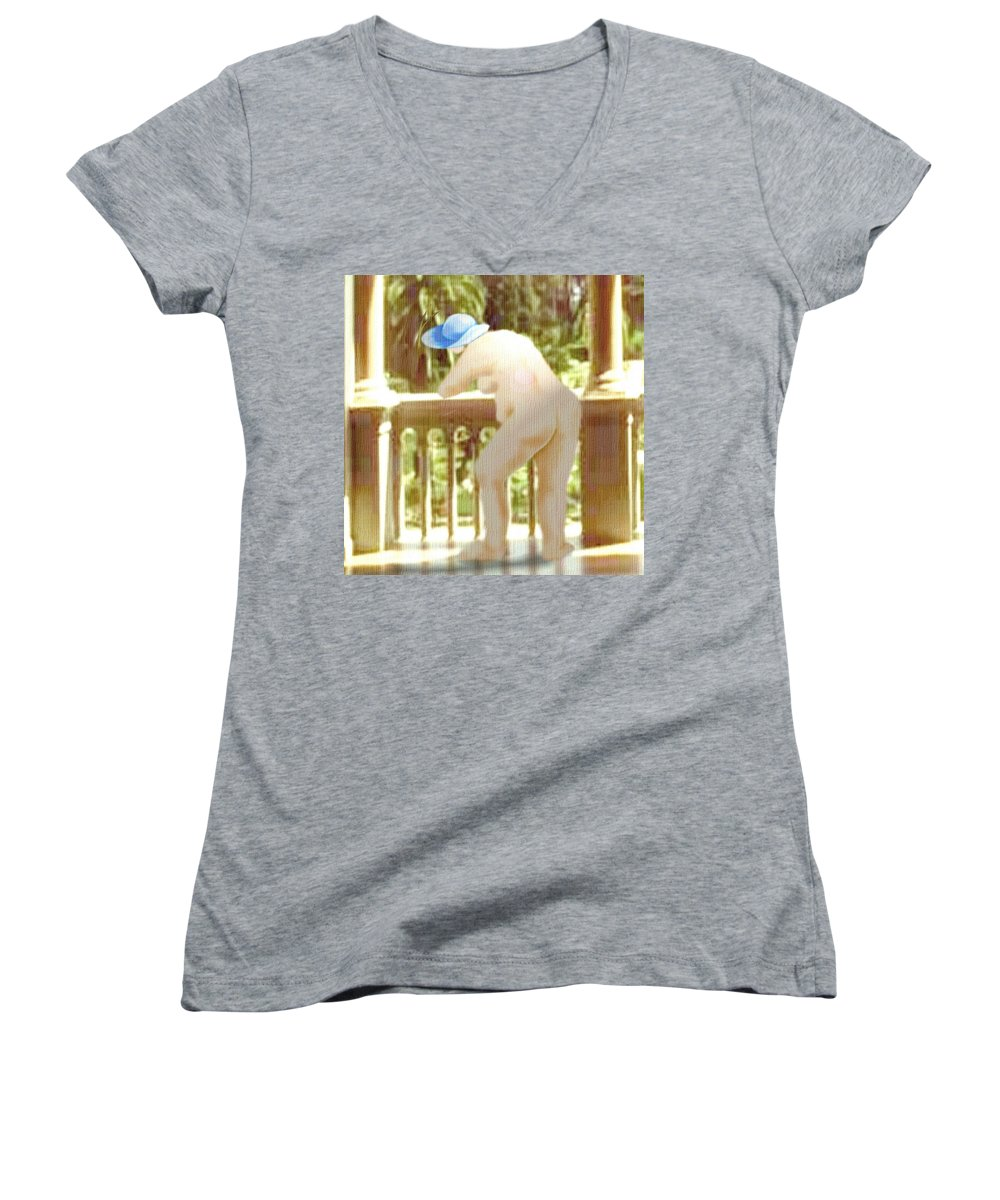 Woman Blue Hat Morning Nature Balcony Women's V-Neck T-Shirt featuring the digital art Blue Hat by Veronica Jackson
