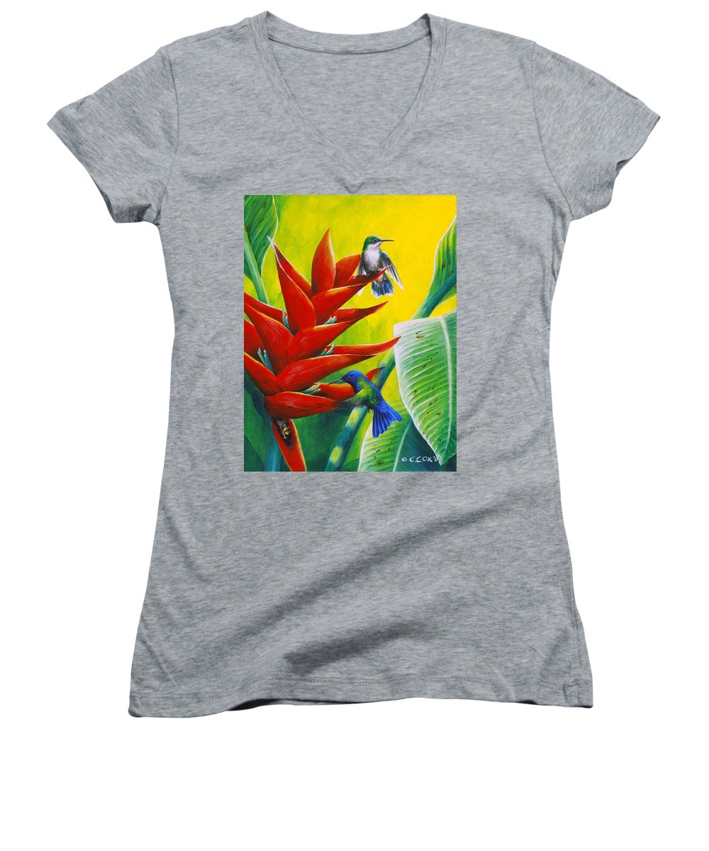 Chris Cox Women's V-Neck T-Shirt featuring the painting Blue-headed Hummingbirds And Heliconia by Christopher Cox