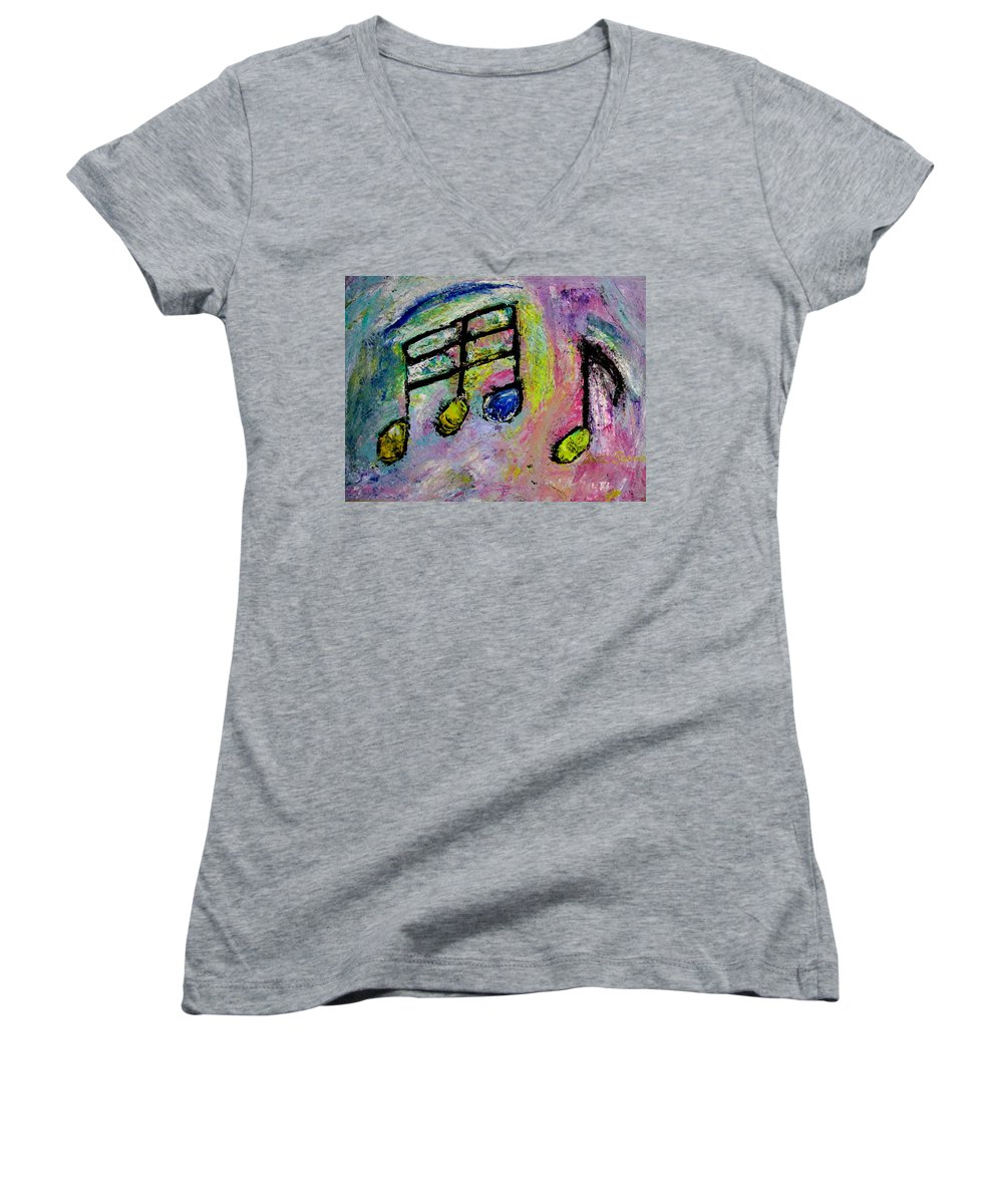 Impressionist Women's V-Neck T-Shirt featuring the painting Blue Note by Anita Burgermeister