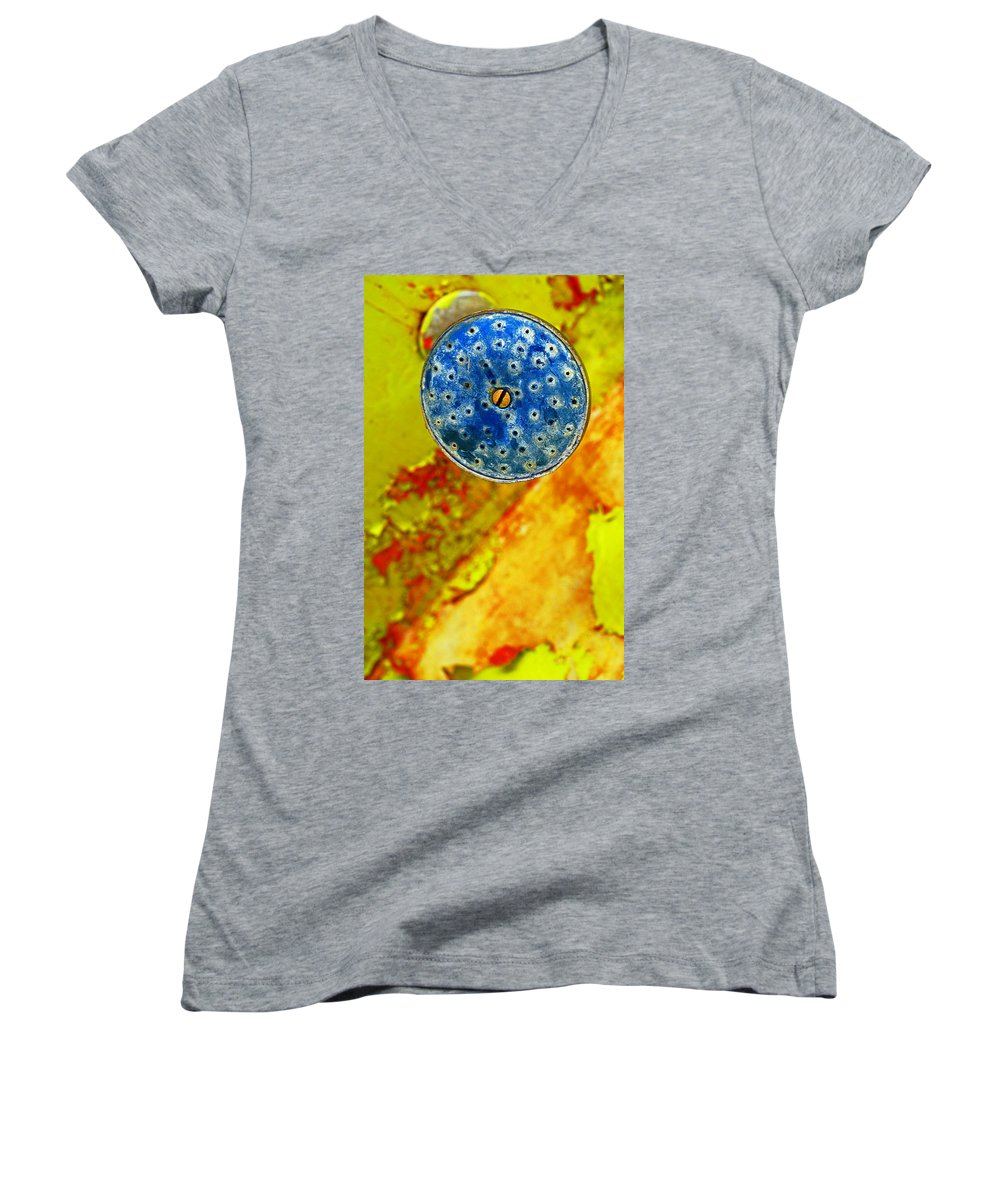 Shadow Women's V-Neck T-Shirt featuring the photograph Blue Shower Head by Skip Hunt