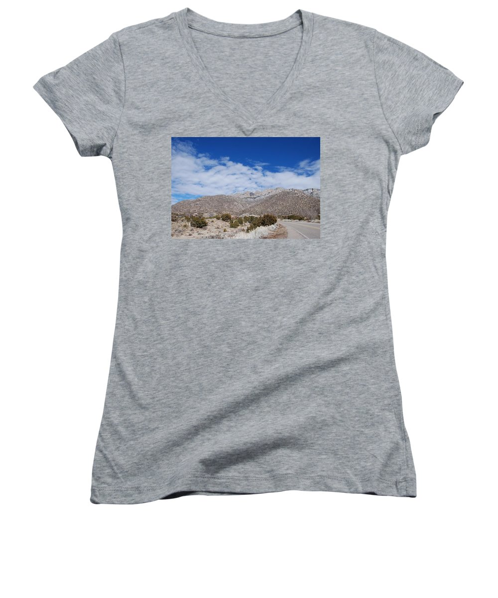 Sandia Mountains Women's V-Neck T-Shirt featuring the photograph Blue Skys Over The Sandias by Rob Hans