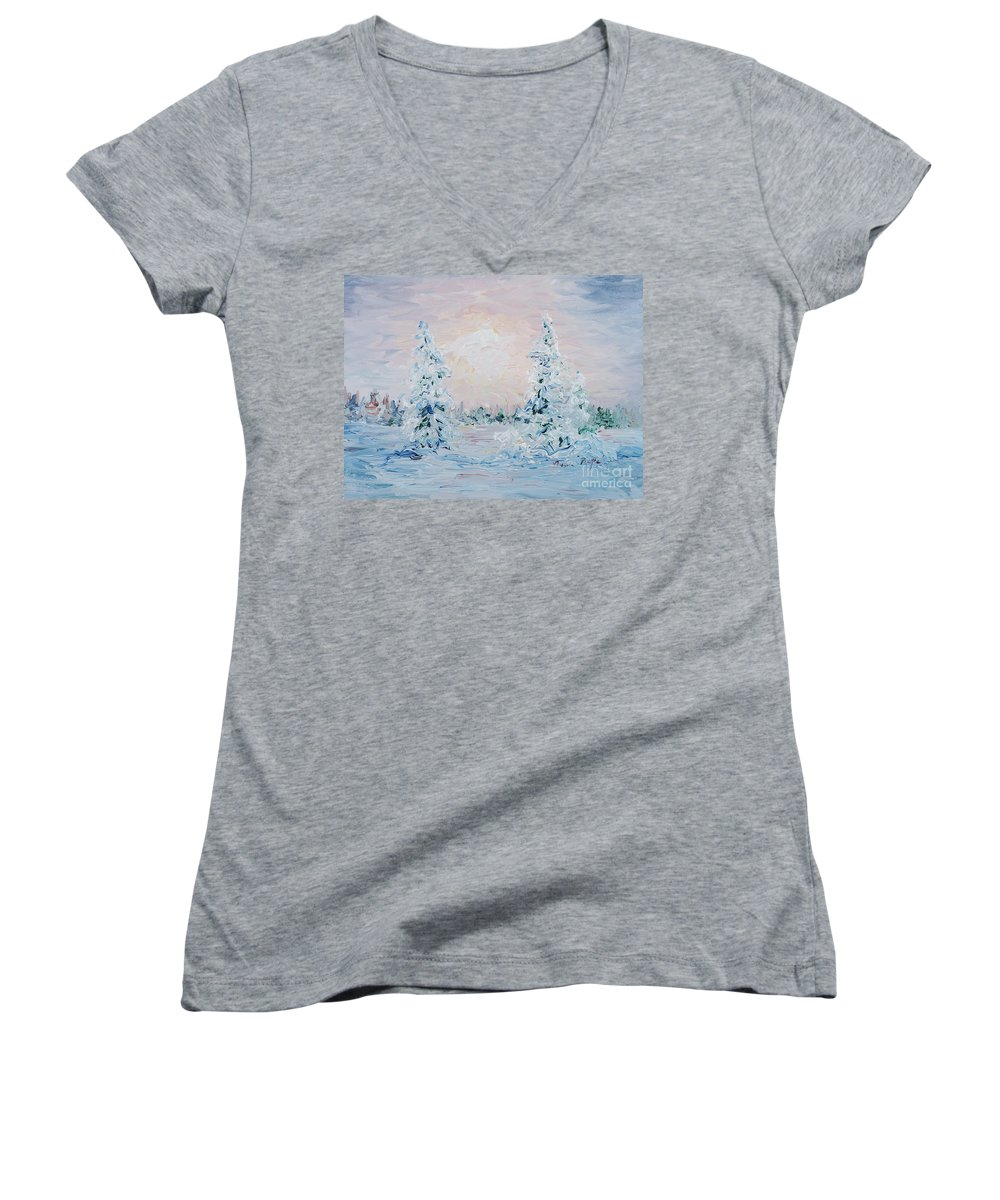 Landscape Women's V-Neck T-Shirt featuring the painting Blue Winter by Nadine Rippelmeyer