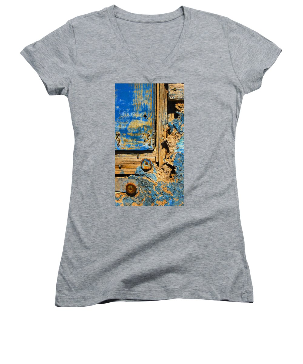 Abstract Women's V-Neck (Athletic Fit) featuring the photograph Blues Dues by Skip Hunt