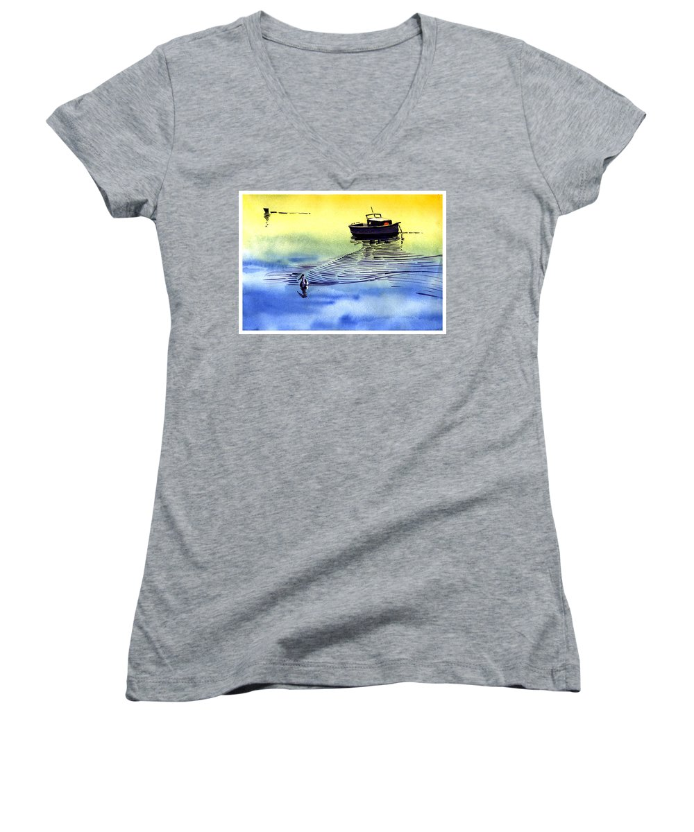 Watercolor Women's V-Neck (Athletic Fit) featuring the painting Boat And The Seagull by Anil Nene