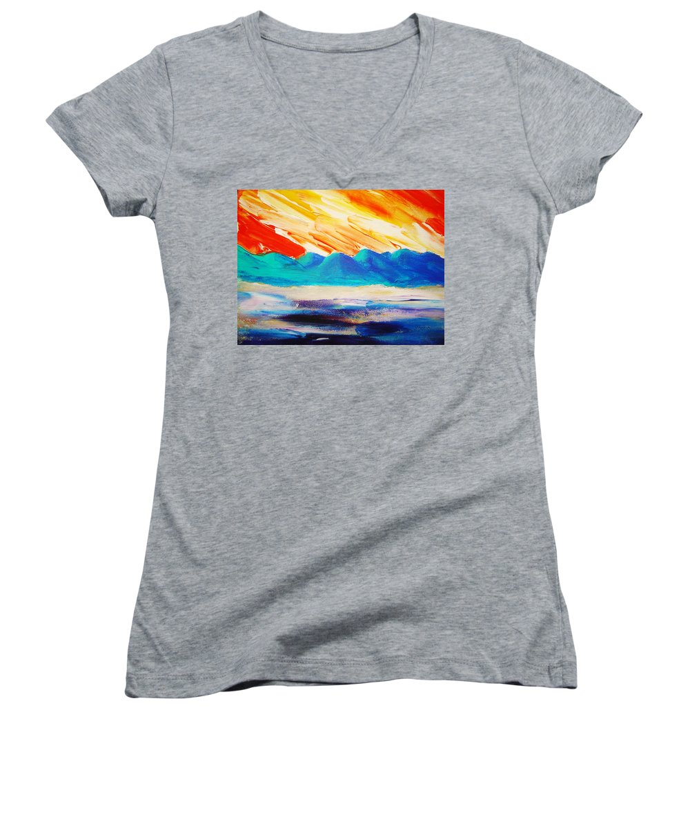 Bright Women's V-Neck T-Shirt featuring the painting Bold Day by Melinda Etzold