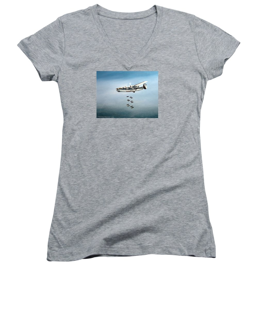 Aviation Women's V-Neck T-Shirt featuring the painting Bombs Away by Marc Stewart