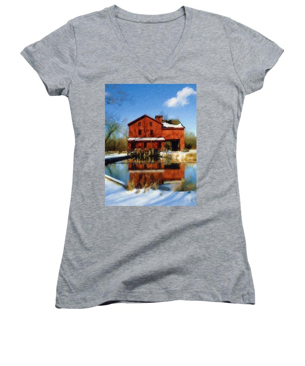 Bonneyville Mill Women's V-Neck T-Shirt featuring the photograph Bonneyville In Winter by Sandy MacGowan