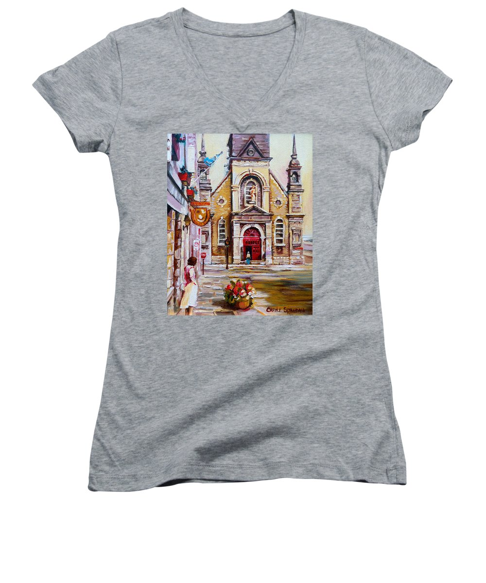 Montreal Churches Women's V-Neck (Athletic Fit) featuring the painting Bonsecours Church by Carole Spandau