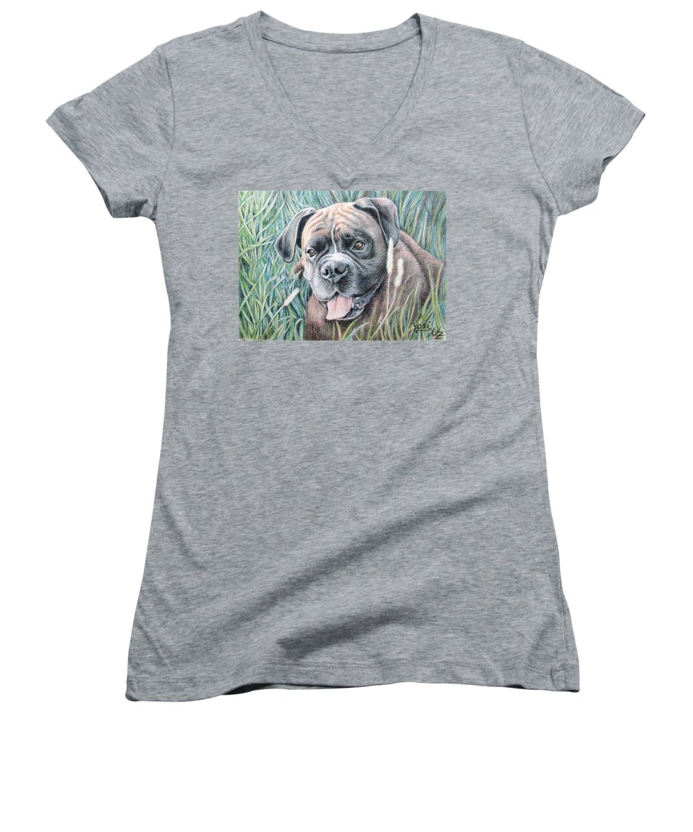Dog Women's V-Neck T-Shirt featuring the drawing Boxer Yosi by Nicole Zeug