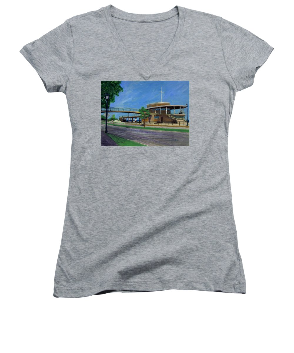 Miexed Media Women's V-Neck (Athletic Fit) featuring the mixed media Bradford Beach House by Anita Burgermeister