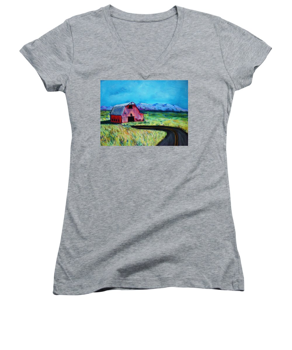 Barn Women's V-Neck (Athletic Fit) featuring the pastel Bradley's Barn by Melinda Etzold
