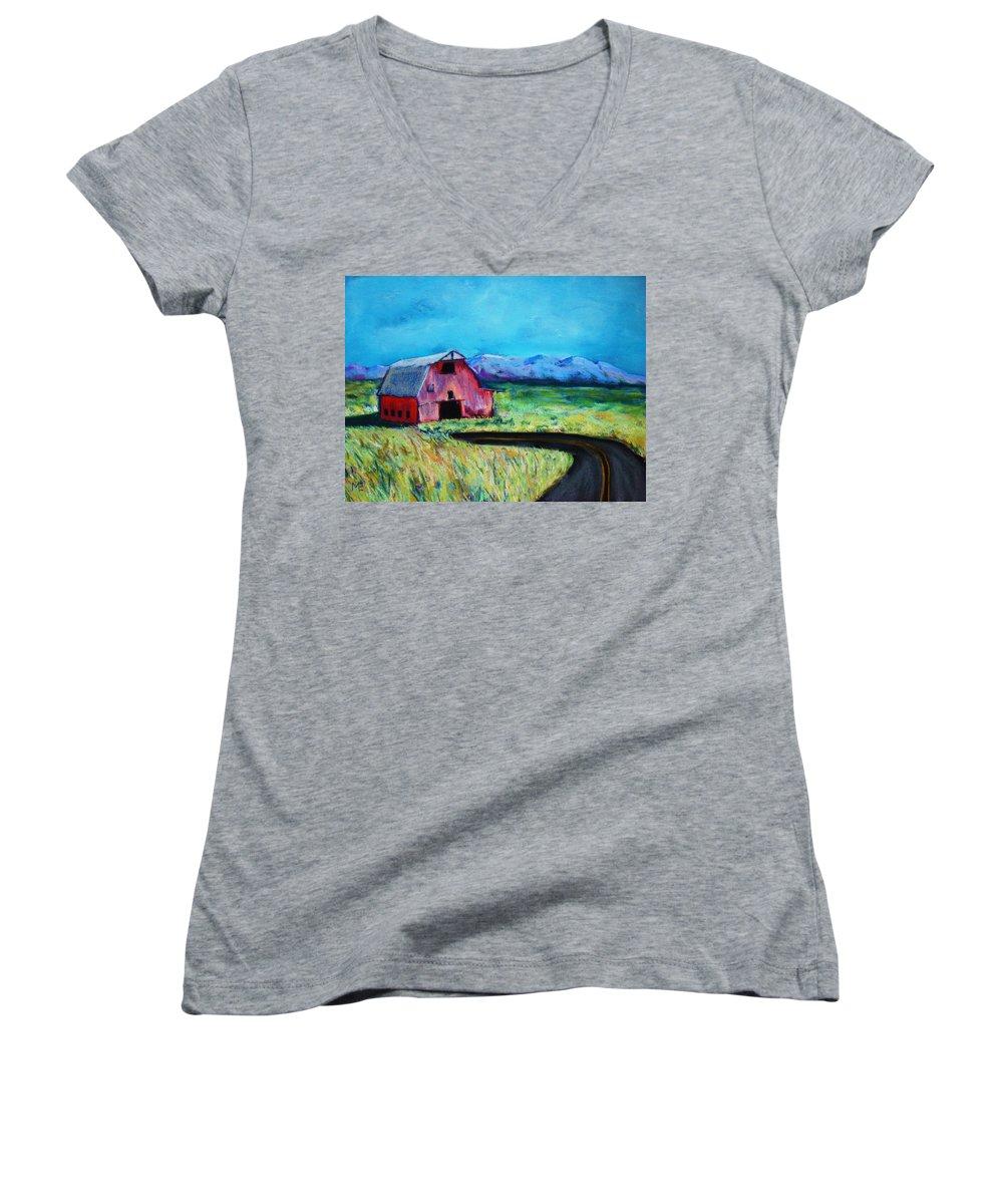 Barn Women's V-Neck T-Shirt featuring the pastel Bradley's Barn by Melinda Etzold