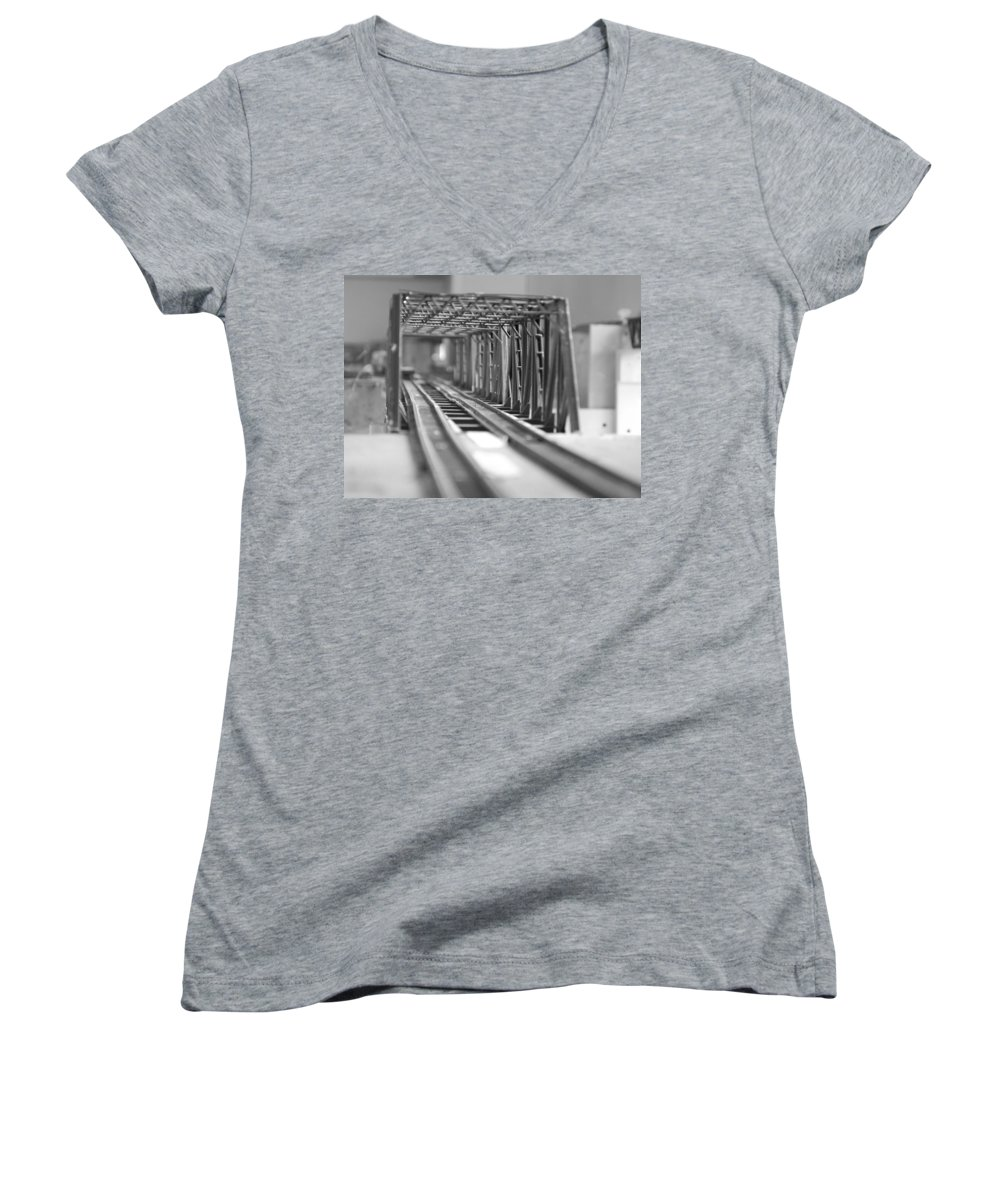 Models Women's V-Neck T-Shirt featuring the photograph Bridge To Jerry Town by Margaret Fortunato