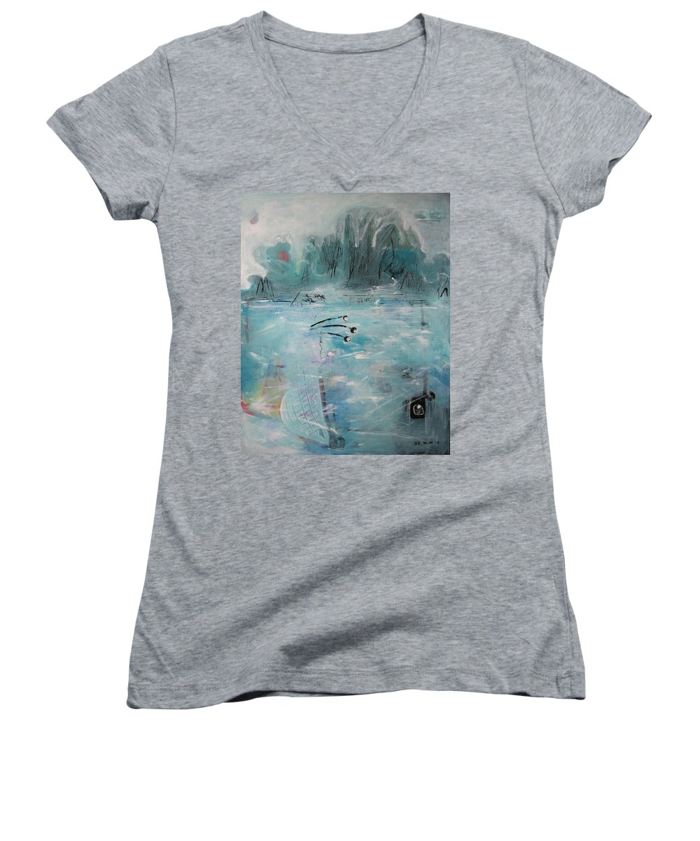 Abstract Paintings Women's V-Neck (Athletic Fit) featuring the painting Brierly Beach by Seon-Jeong Kim