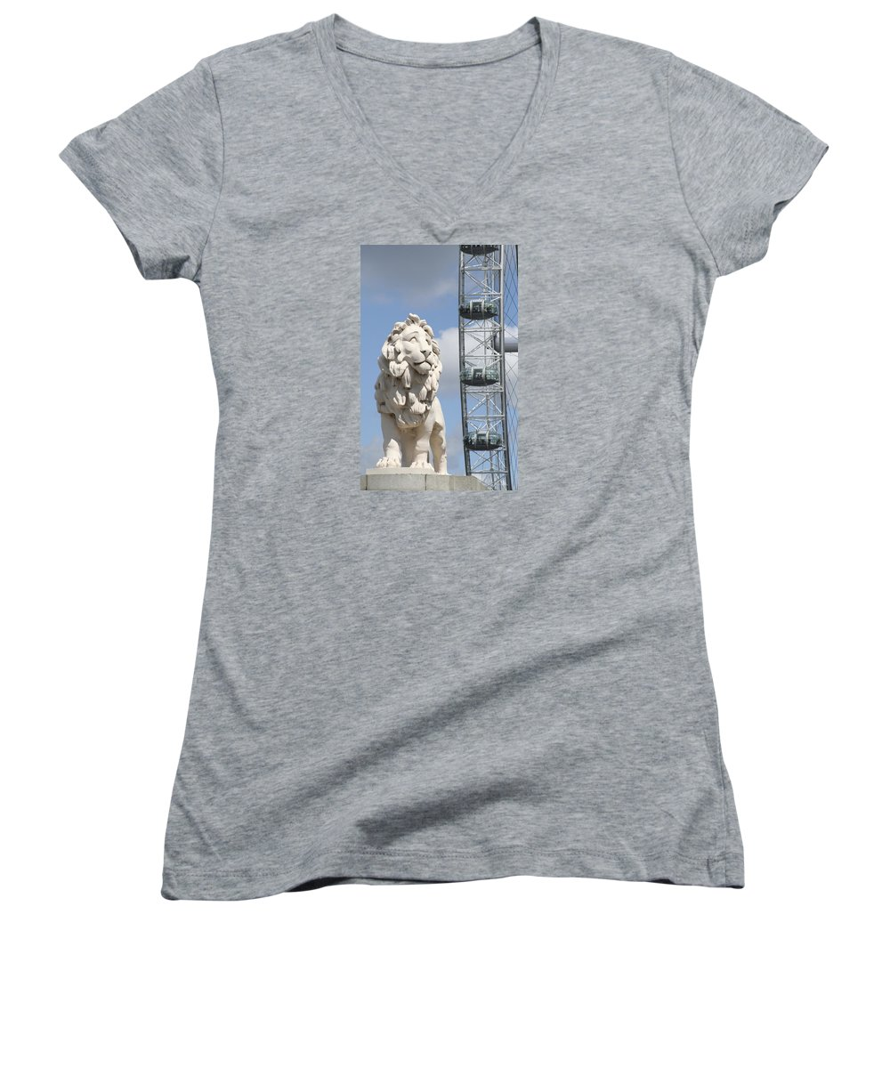 Lion Women's V-Neck T-Shirt featuring the photograph Britannia Lion by Margie Wildblood