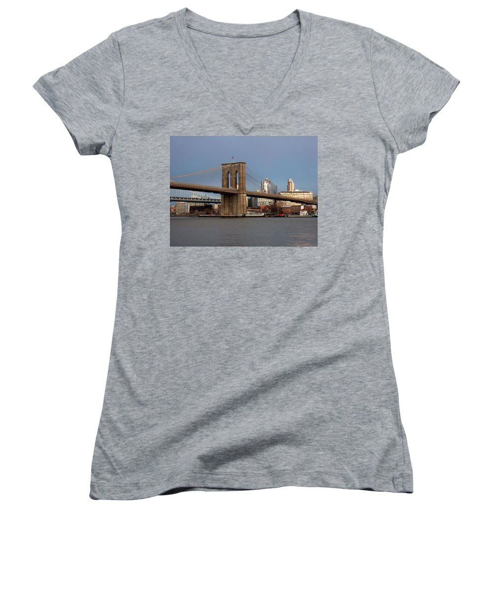 Brooklyn Bridge Women's V-Neck (Athletic Fit) featuring the photograph Brooklyn Bridge by Anita Burgermeister
