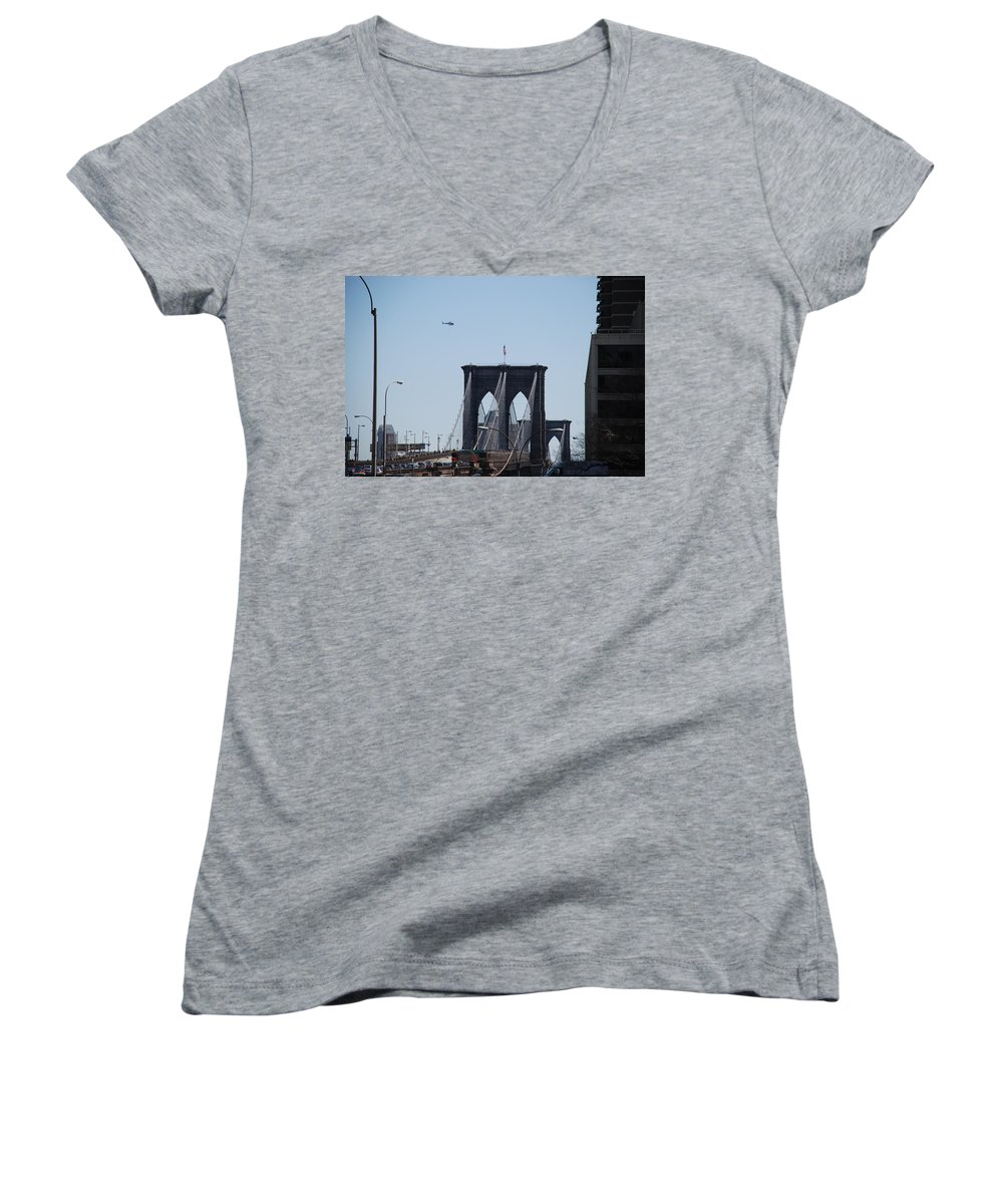 Architecture Women's V-Neck T-Shirt featuring the photograph Brooklyn Bridge by Rob Hans