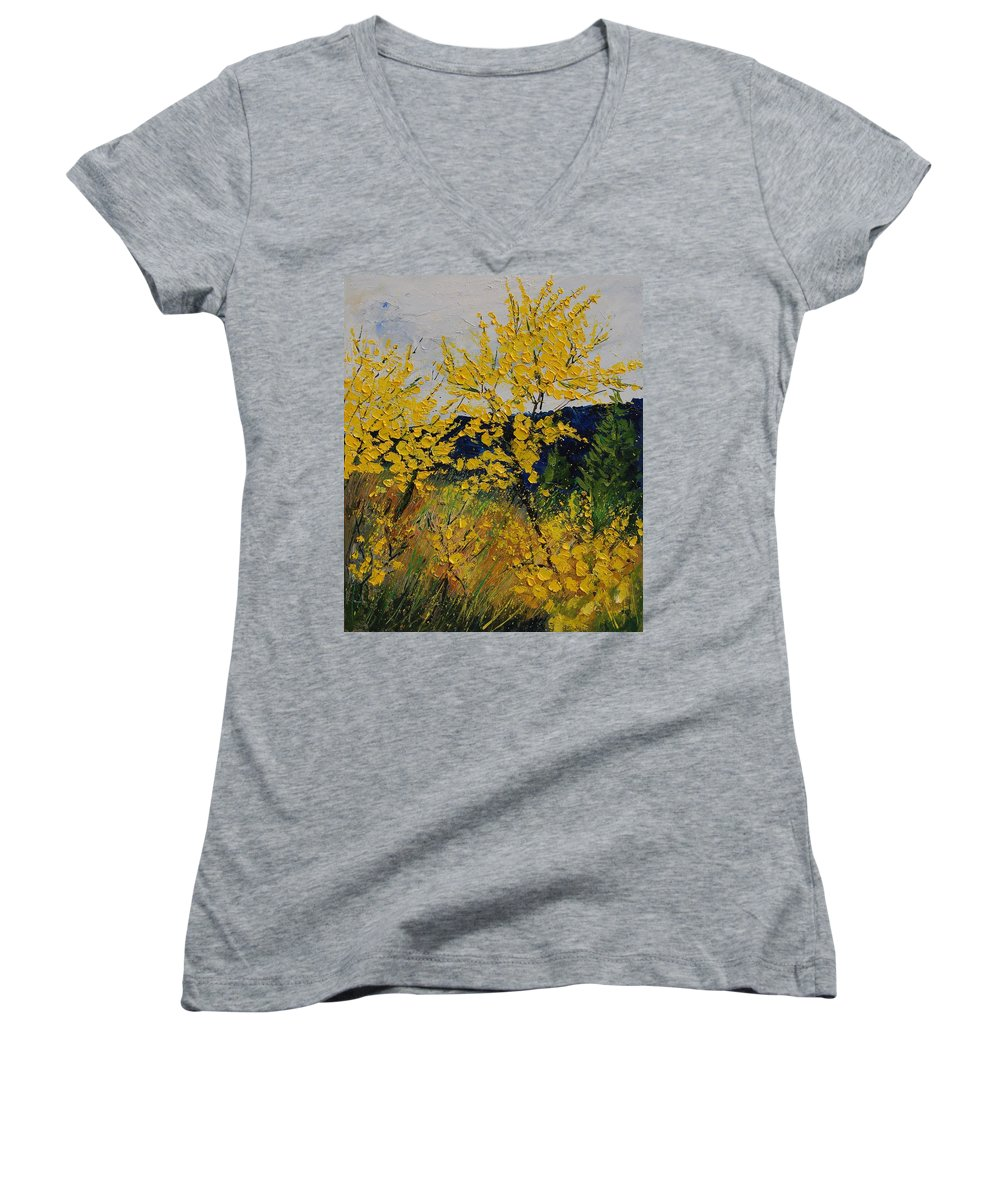 Flowers Women's V-Neck T-Shirt featuring the painting Brooms by Pol Ledent