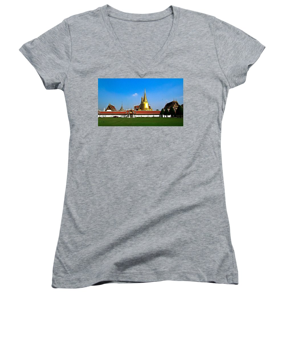 Buddha Women's V-Neck (Athletic Fit) featuring the photograph Buddhaist Temple by Douglas Barnett
