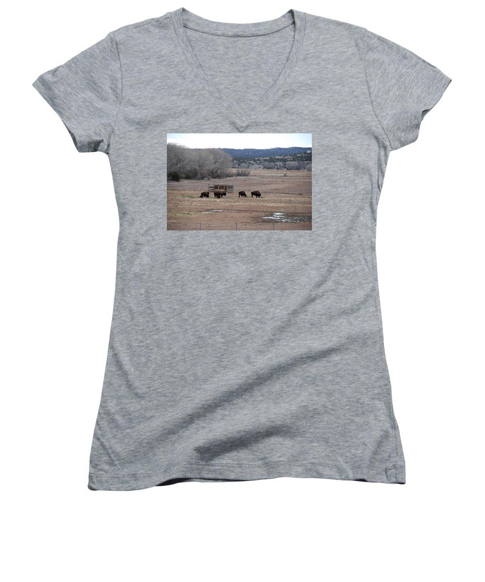 Buffalo Women's V-Neck T-Shirt featuring the photograph Buffalo New Mexico by Rob Hans