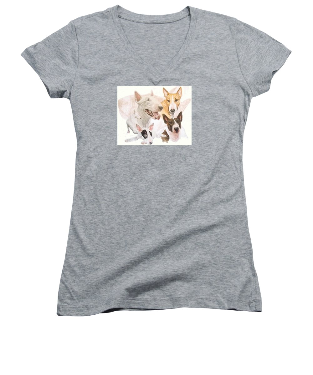 Purebred Women's V-Neck (Athletic Fit) featuring the mixed media Bull Terrier W/ghost by Barbara Keith