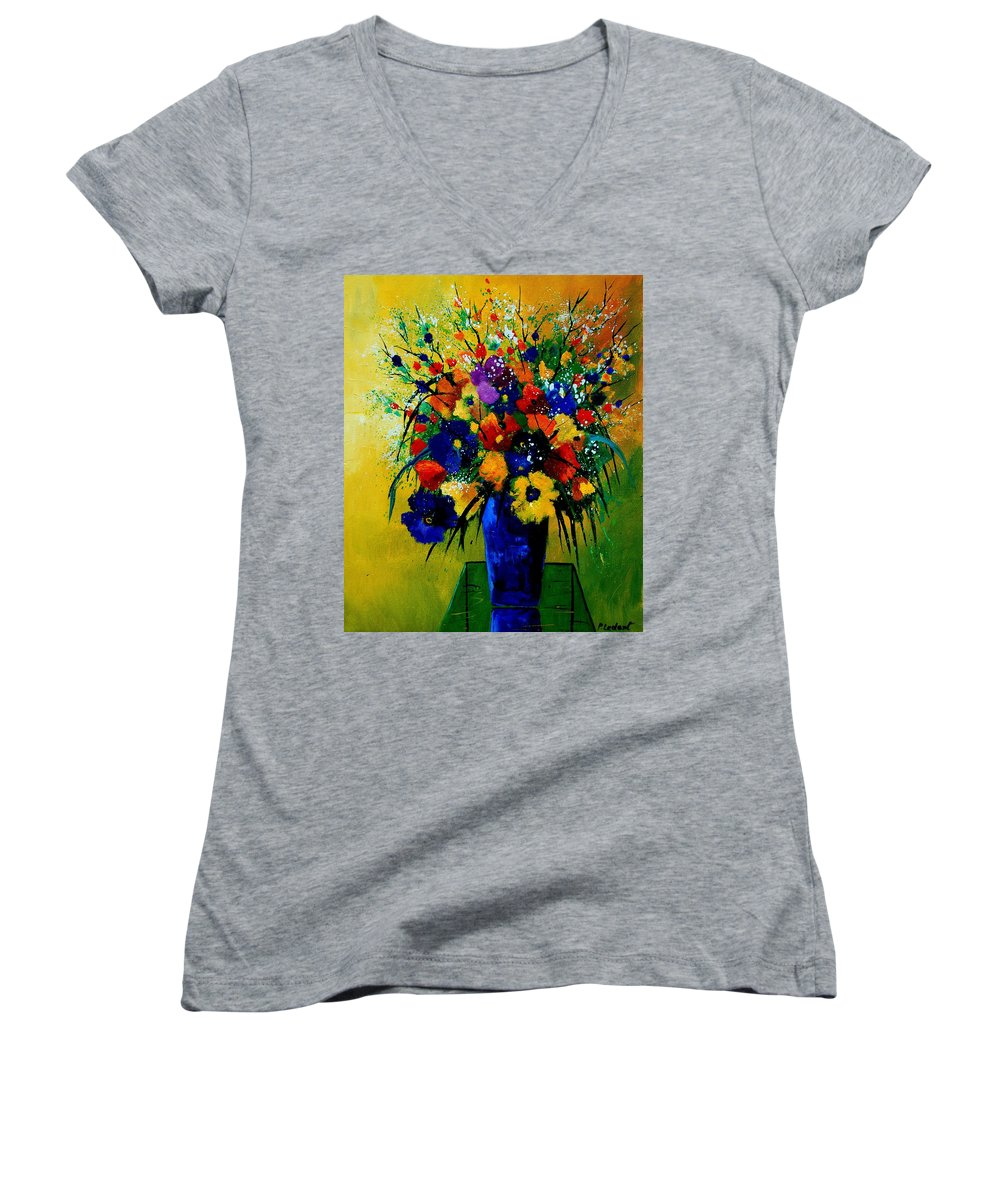 Poppies Women's V-Neck T-Shirt featuring the painting Bunch 0508 by Pol Ledent