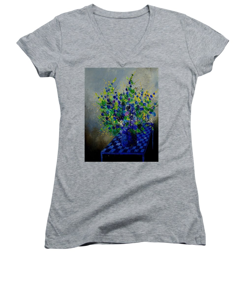 Flowers Women's V-Neck T-Shirt featuring the painting Bunch 9020 by Pol Ledent