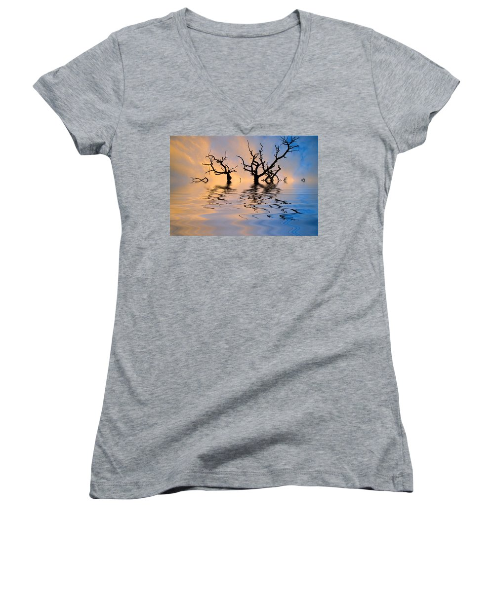 Original Art Women's V-Neck (Athletic Fit) featuring the photograph Slowly Sinking by Jerry McElroy