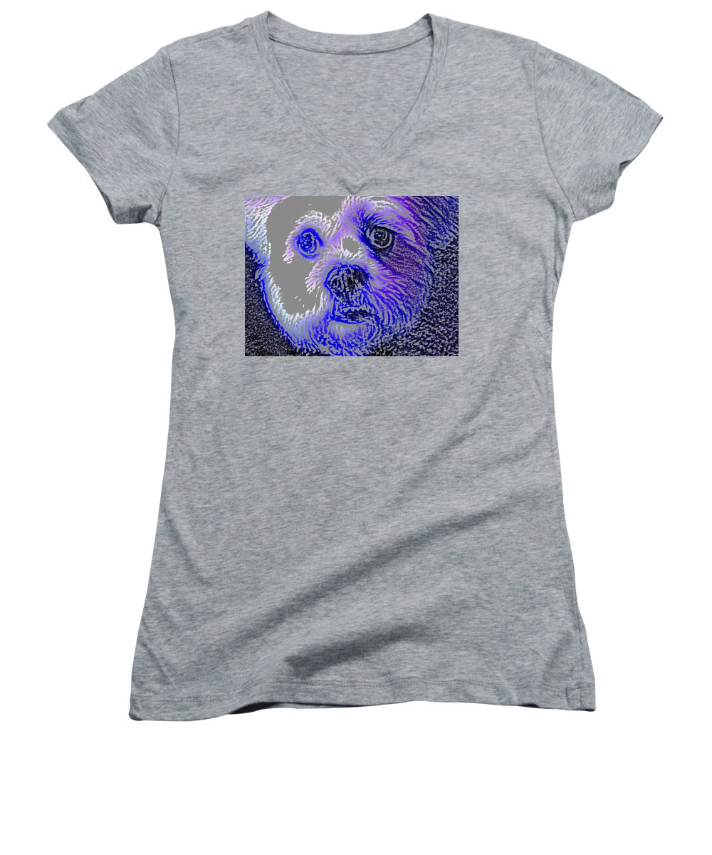 Dog Women's V-Neck T-Shirt featuring the photograph Buster Photo by Wayne Potrafka