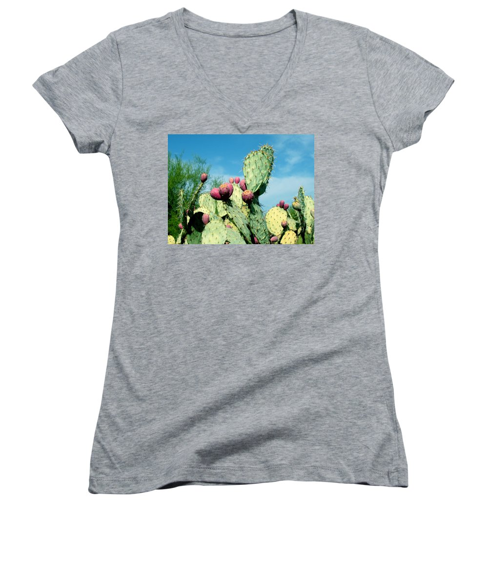 Cactus Women's V-Neck (Athletic Fit) featuring the photograph Cactus by Wayne Potrafka