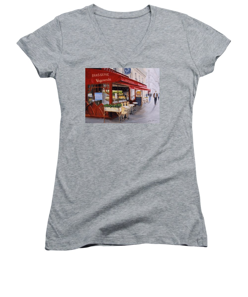 Cafe Women's V-Neck T-Shirt featuring the painting Cafe 4 by Jay Johnson