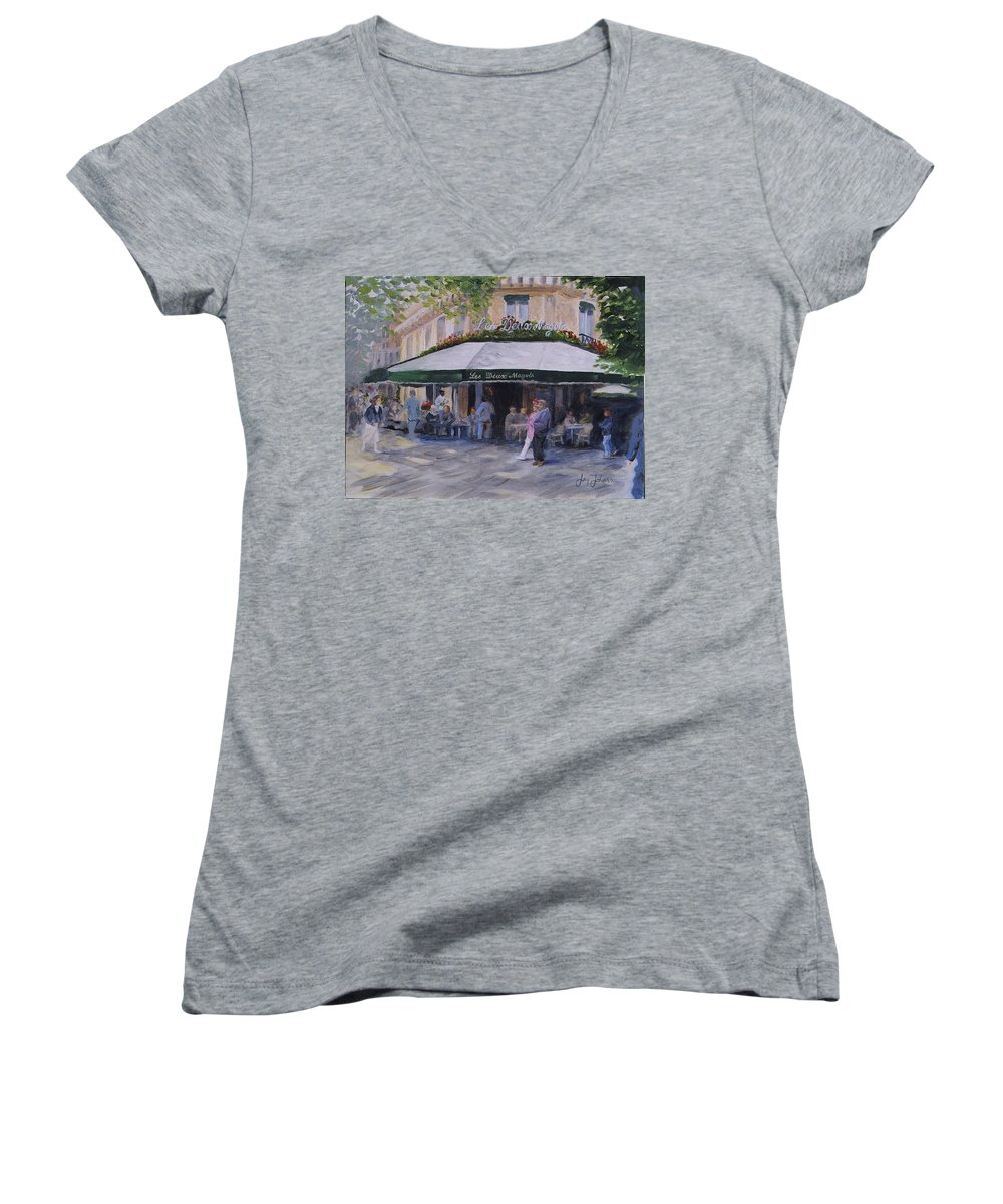 Cafe Magots Women's V-Neck T-Shirt featuring the painting Cafe Magots by Jay Johnson
