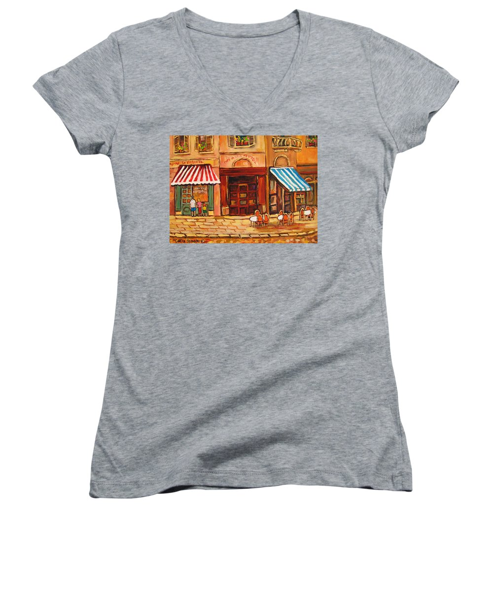 Cafe Vieux Montreal Street Scenes Women's V-Neck (Athletic Fit) featuring the painting Cafe Vieux Montreal by Carole Spandau