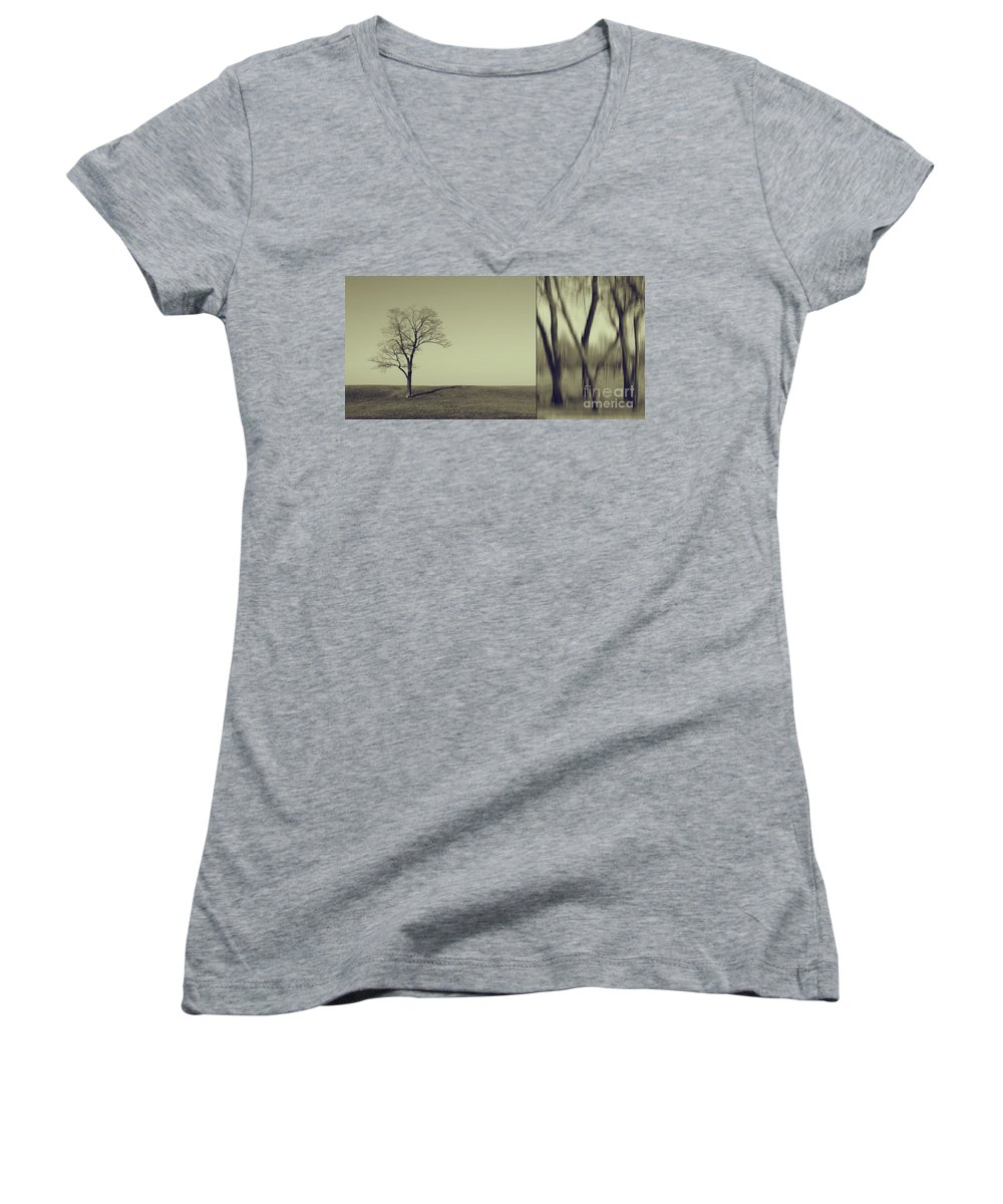Chicago Women's V-Neck (Athletic Fit) featuring the photograph Can You Hear My Silent Words Whispering Along The Wind by Dana DiPasquale