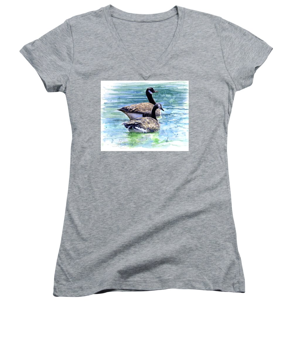 Canada Women's V-Neck (Athletic Fit) featuring the painting Canada Geese by John D Benson