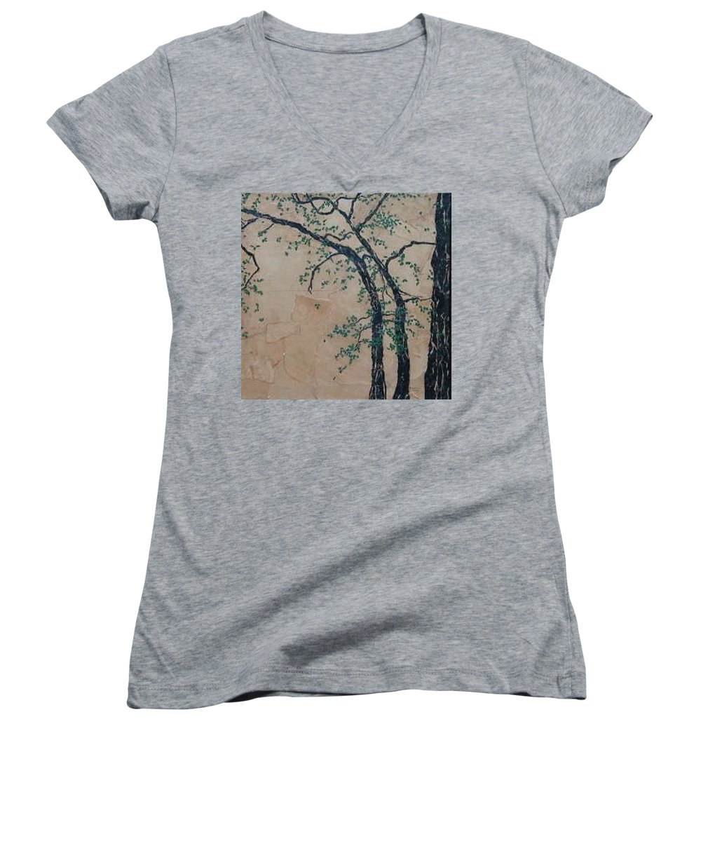 Leafy Tree Women's V-Neck T-Shirt (Junior Cut) featuring the painting Canandaigua Lake by Leah Tomaino