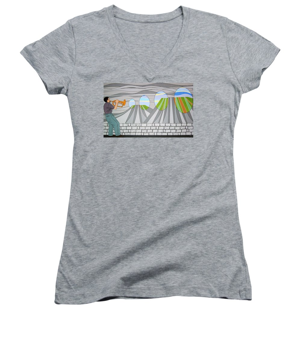 Trumpet Women's V-Neck T-Shirt featuring the painting Candy Lips by Patricia Van Lubeck