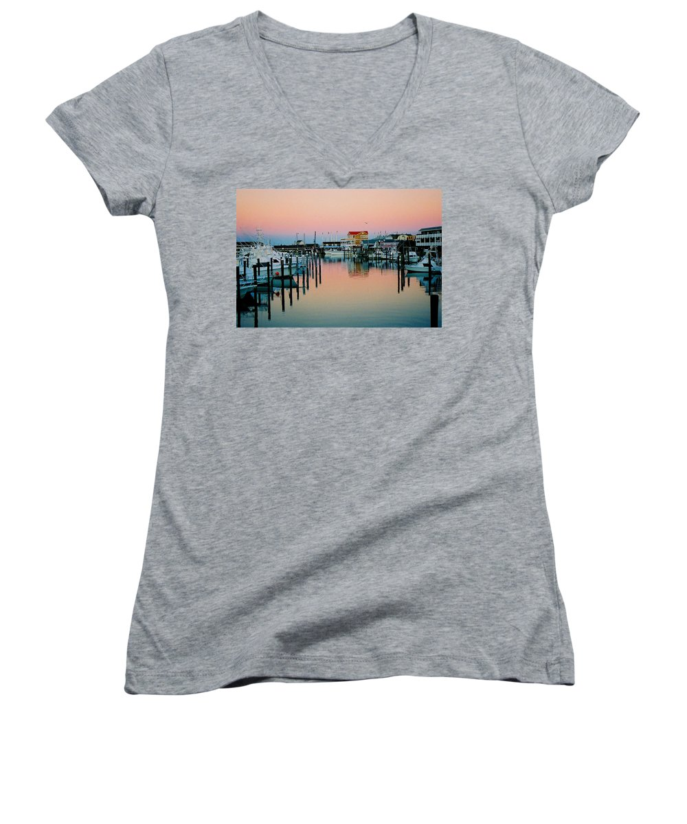 Cape May Women's V-Neck T-Shirt featuring the photograph Cape May After Glow by Steve Karol