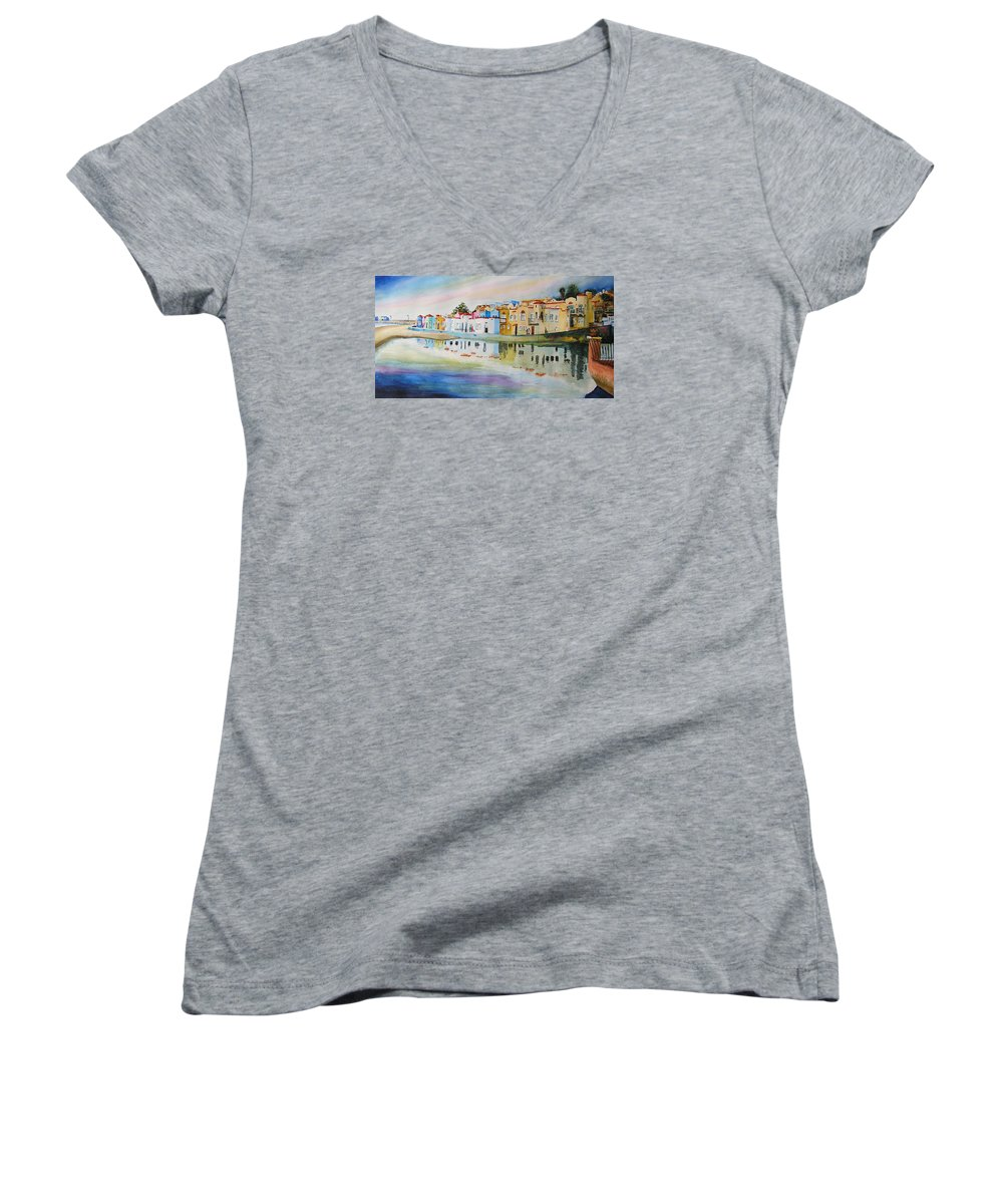 Capitola Women's V-Neck T-Shirt featuring the painting Capitola by Karen Stark