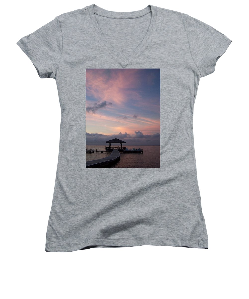 Ocean Women's V-Neck T-Shirt featuring the photograph Caribbean Sunrise by Gale Cochran-Smith