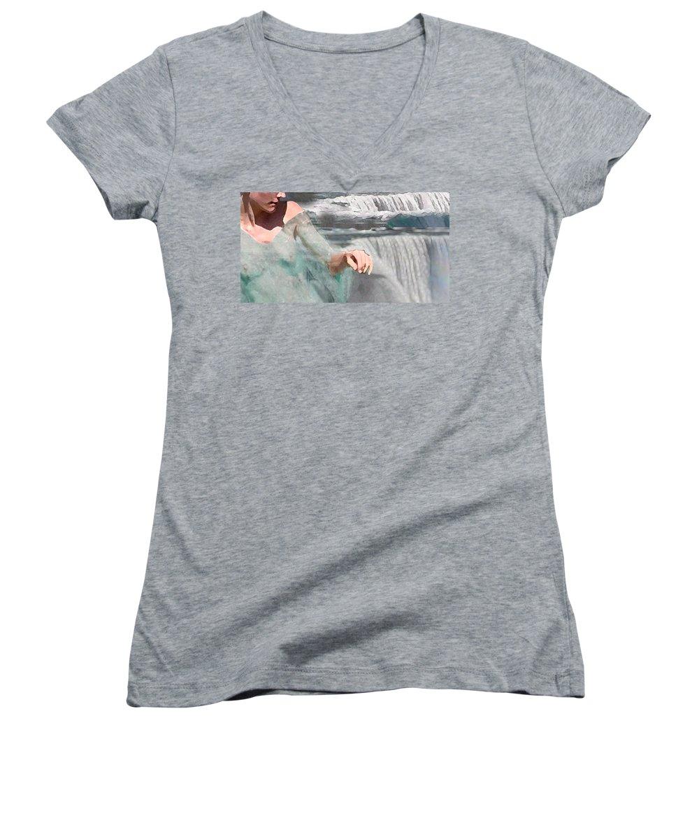 Waterscape Women's V-Neck T-Shirt (Junior Cut) featuring the digital art Cascade by Steve Karol
