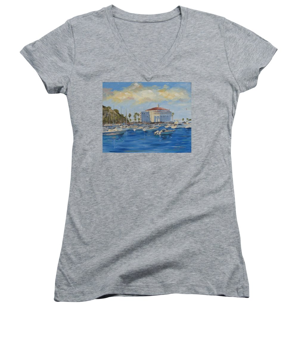 California Women's V-Neck (Athletic Fit) featuring the painting Catallina Casino by Jay Johnson