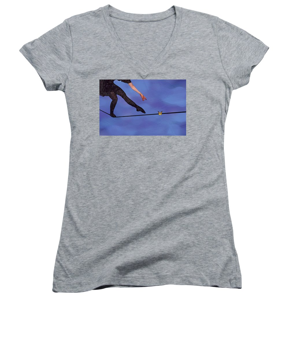 Surreal Women's V-Neck T-Shirt (Junior Cut) featuring the painting Catching Butterflies by Steve Karol