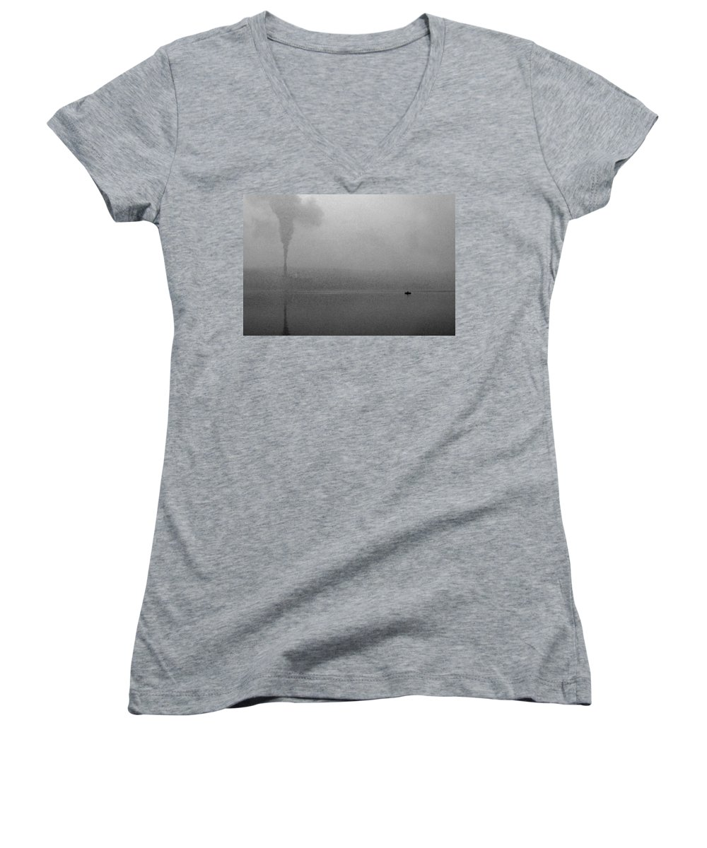 Solitude Women's V-Neck T-Shirt featuring the photograph Cayuga Solitude by Jean Macaluso
