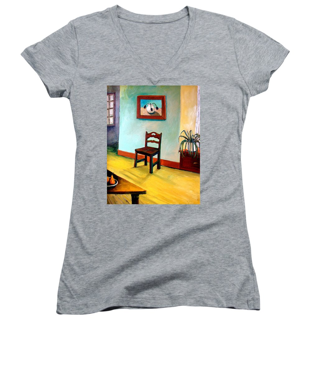 Apartment Women's V-Neck (Athletic Fit) featuring the painting Chair And Pears Interior by Michelle Calkins