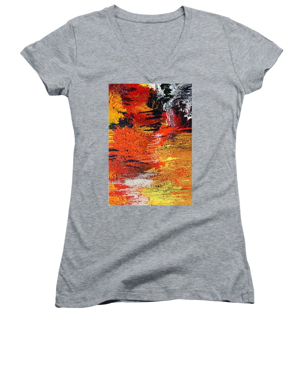 Fusionart Women's V-Neck T-Shirt featuring the painting Chasm by Ralph White
