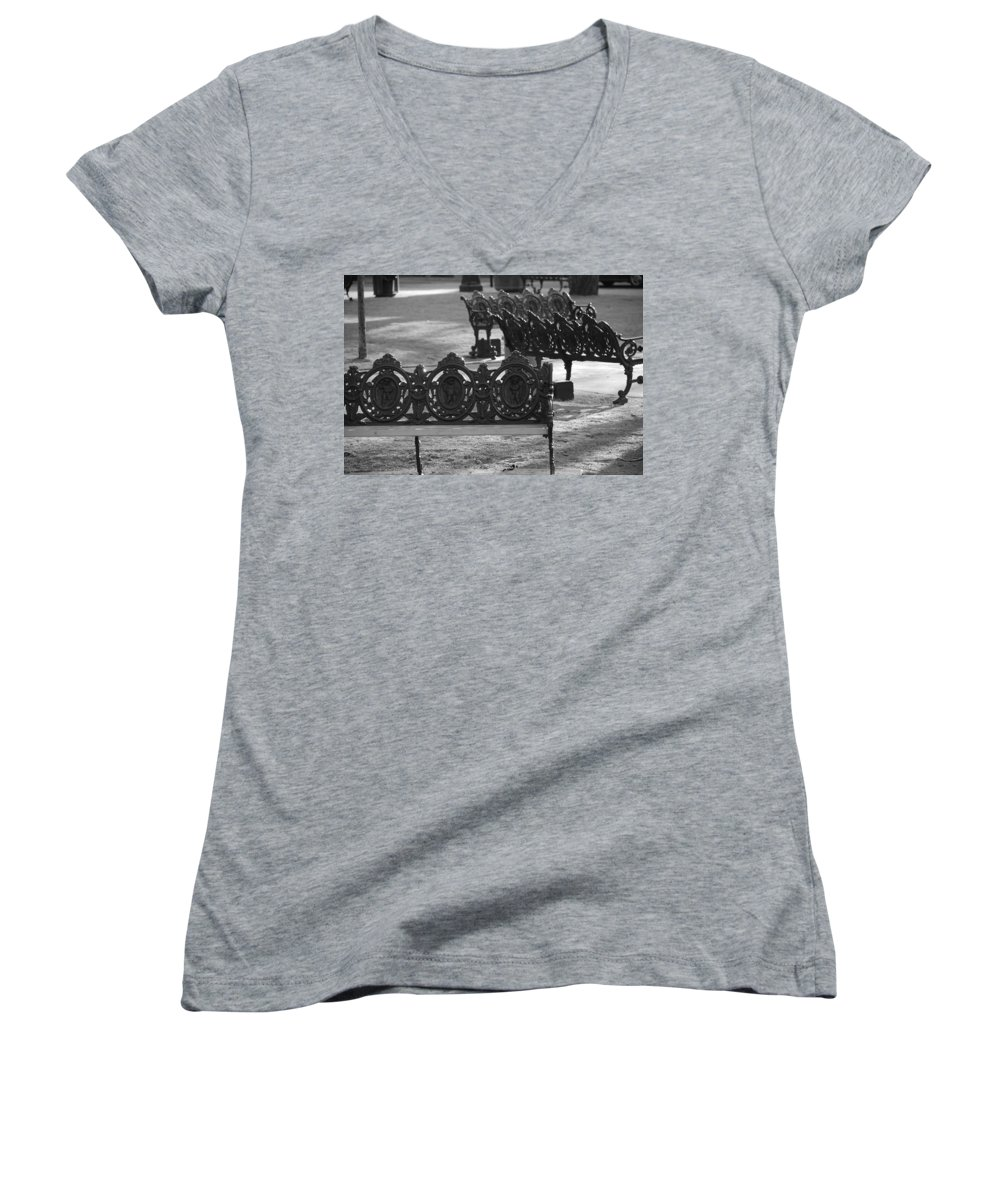 Black And White Women's V-Neck (Athletic Fit) featuring the photograph Cherb Benches by Rob Hans